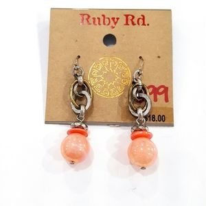 NWT Ruby Rd. Beaded Dangle Shiny Pink Earrings